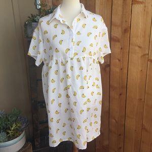Brandless Novelty Print Collared Shirt Dress